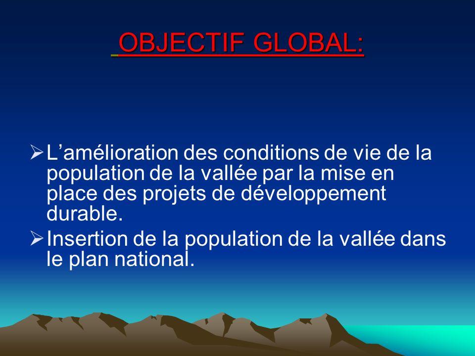 OBJECTIF GLOBAL: Lamélioration des conditions de vie de la population de la vallée par la mise en place des projets de développement durable.