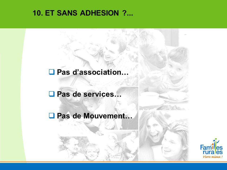 Pas dassociation… Pas de services… Pas de Mouvement… 10. ET SANS ADHESION ?...