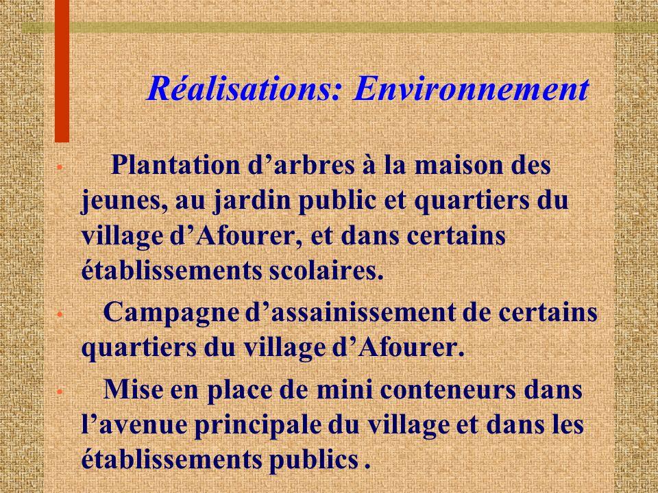 Réalisations: Environnement Plantation darbres à la maison des jeunes, au jardin public et quartiers du village dAfourer, et dans certains établissements scolaires.