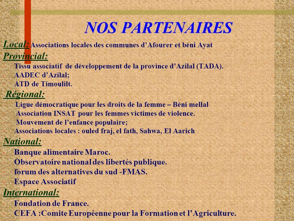 NOS PARTENAIRES Local: Associations locales des communes dAfourer et béni Ayat Provincial: Tissu associatif de développement de la province dAzilal (TADA).
