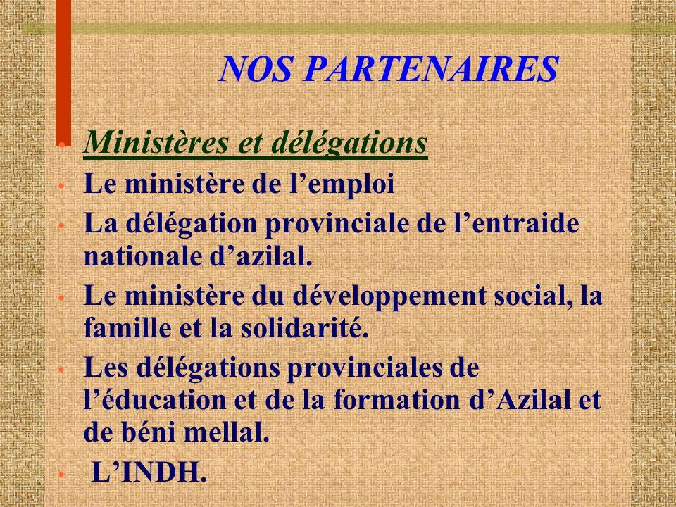 NOS PARTENAIRES Ministères et délégations Le ministère de lemploi La délégation provinciale de lentraide nationale dazilal.