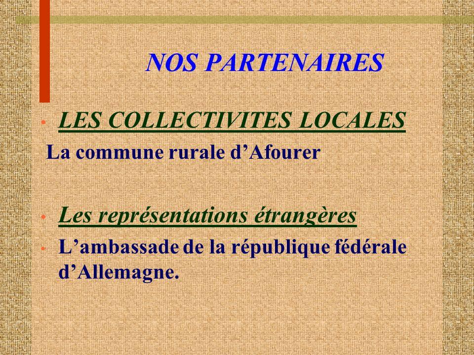 NOS PARTENAIRES LES COLLECTIVITES LOCALES La commune rurale dAfourer Les représentations étrangères Lambassade de la république fédérale dAllemagne.