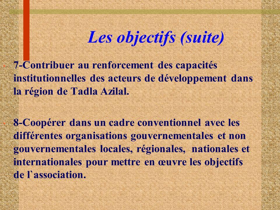 Les objectifs (suite) 7-Contribuer au renforcement des capacités institutionnelles des acteurs de développement dans la région de Tadla Azilal.