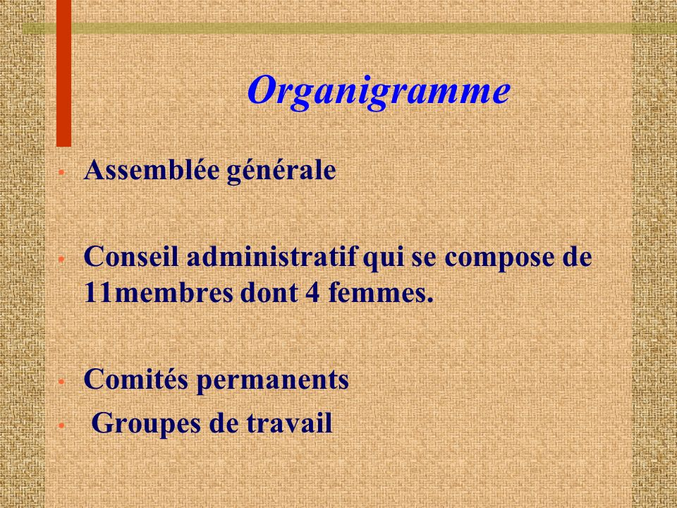 Organigramme Assemblée générale Conseil administratif qui se compose de 11membres dont 4 femmes.