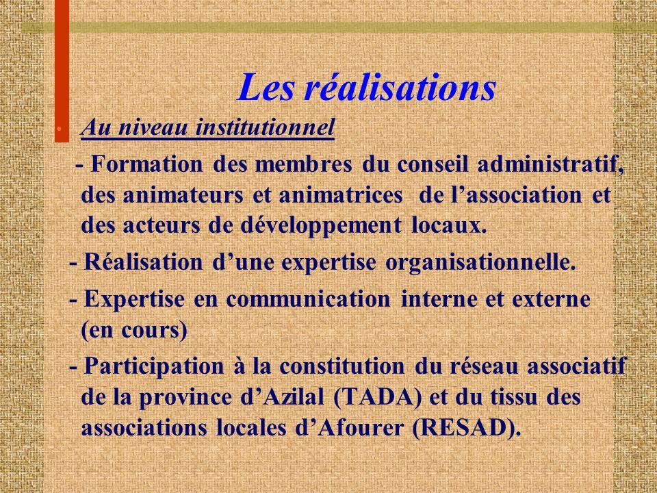 Les réalisations Au niveau institutionnel - Formation des membres du conseil administratif, des animateurs et animatrices de lassociation et des acteurs de développement locaux.
