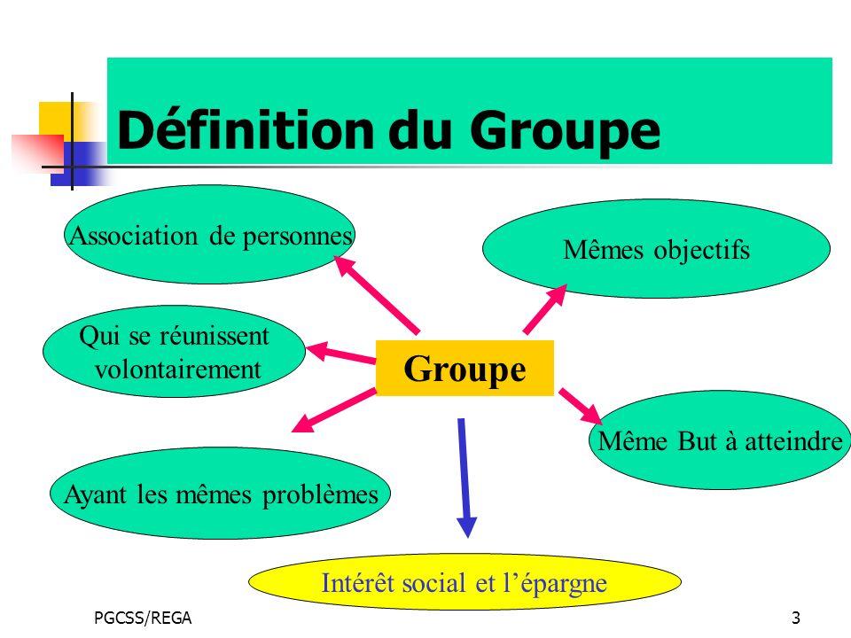 PGCSS/REGA3 Définition du Groupe Groupe Qui se réunissent volontairement Association de personnes Ayant les mêmes problèmes Mêmes objectifs Même But à