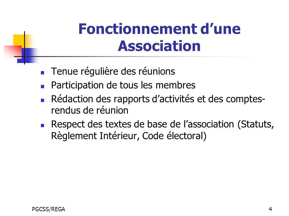 PGCSS/REGA4 Fonctionnement dune Association Tenue régulière des réunions Participation de tous les membres Rédaction des rapports dactivités et des co