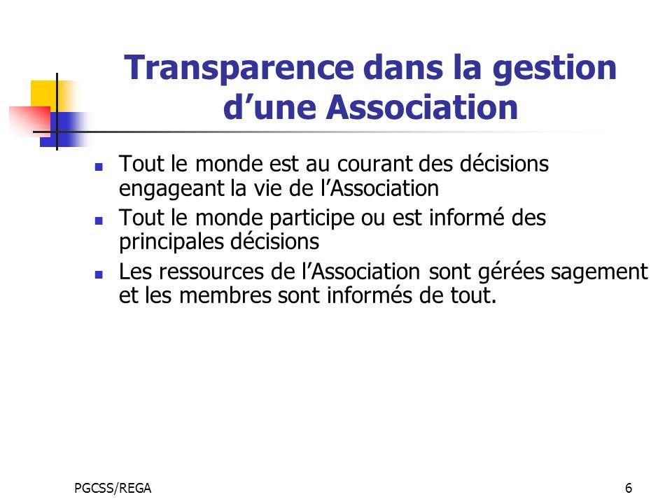 PGCSS/REGA6 Transparence dans la gestion dune Association Tout le monde est au courant des décisions engageant la vie de lAssociation Tout le monde pa