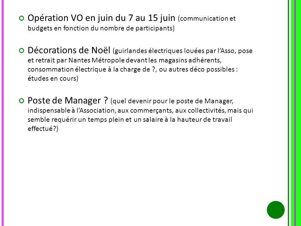 Opération VO en juin du 7 au 15 juin (communication et budgets en fonction du nombre de participants) Décorations de Noël (guirlandes électriques loué