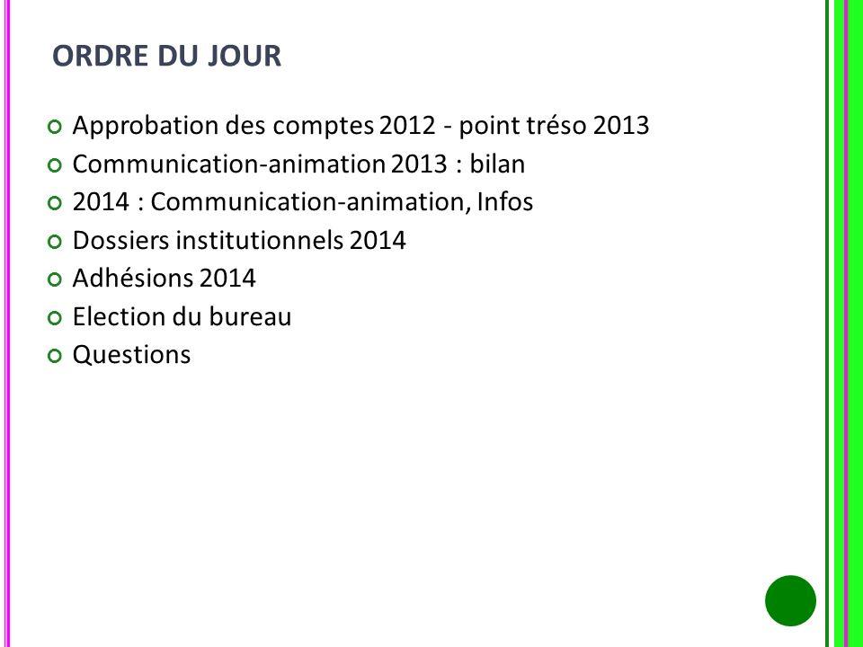 ORDRE DU JOUR Approbation des comptes 2012 - point tréso 2013 Communication-animation 2013 : bilan 2014 : Communication-animation, Infos Dossiers inst