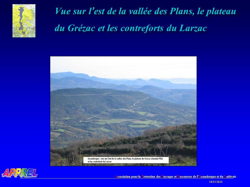 Association pour la Protection des Paysages et Ressources de l Escandorgue et du Lodévois 18/05/2014 18/05/2014 Vue sur l est de la vallée des Plans, le plateau du Grézac et les contreforts du Larzac