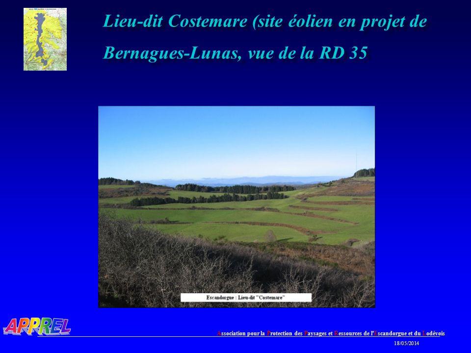 Association pour la Protection des Paysages et Ressources de l Escandorgue et du Lodévois 18/05/2014 18/05/2014 Lieu-dit Costemare (site éolien en projet de Bernagues-Lunas, vue de la RD 35