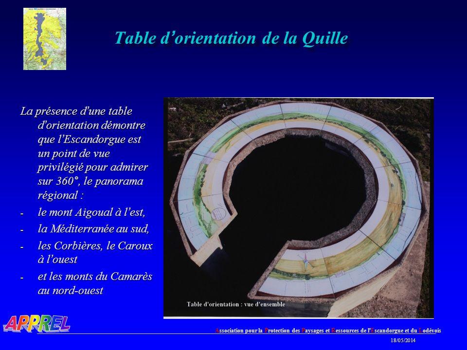 Association pour la Protection des Paysages et Ressources de l Escandorgue et du Lodévois 18/05/2014 18/05/2014 Table d orientation de la Quille La présence d une table d orientation démontre que l Escandorgue est un point de vue privilégié pour admirer sur 360°, le panorama régional : - le mont Aigoual à l est, - la Méditerranée au sud, - les Corbières, le Caroux à l ouest - et les monts du Camarès au nord-ouest