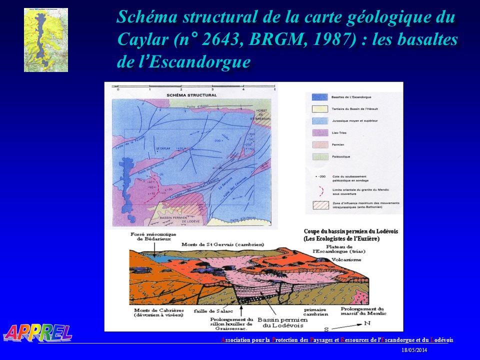 Association pour la Protection des Paysages et Ressources de l Escandorgue et du Lodévois 18/05/2014 18/05/2014 Schéma structural de la carte géologique du Caylar (n° 2643, BRGM, 1987) : les basaltes de l Escandorgue