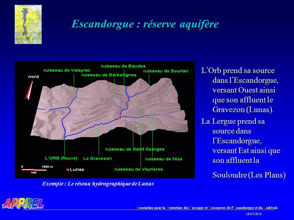 Association pour la Protection des Paysages et Ressources de l Escandorgue et du Lodévois 18/05/2014 18/05/2014 Escandorgue : réserve aquifère L Orb prend sa source dans l Escandorgue, versant Ouest ainsi que son affluent le Gravezon (Lunas).
