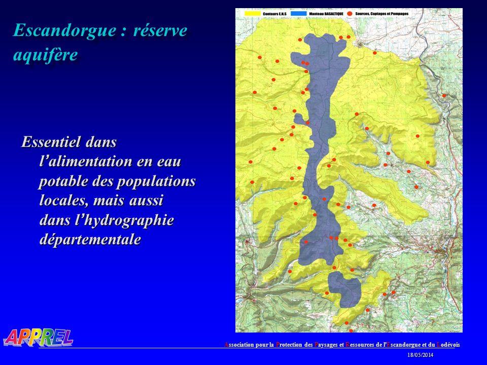 Association pour la Protection des Paysages et Ressources de l Escandorgue et du Lodévois 18/05/2014 18/05/2014 Escandorgue : réserve aquifère Essentiel dans l alimentation en eau potable des populations locales, mais aussi dans l hydrographie départementale