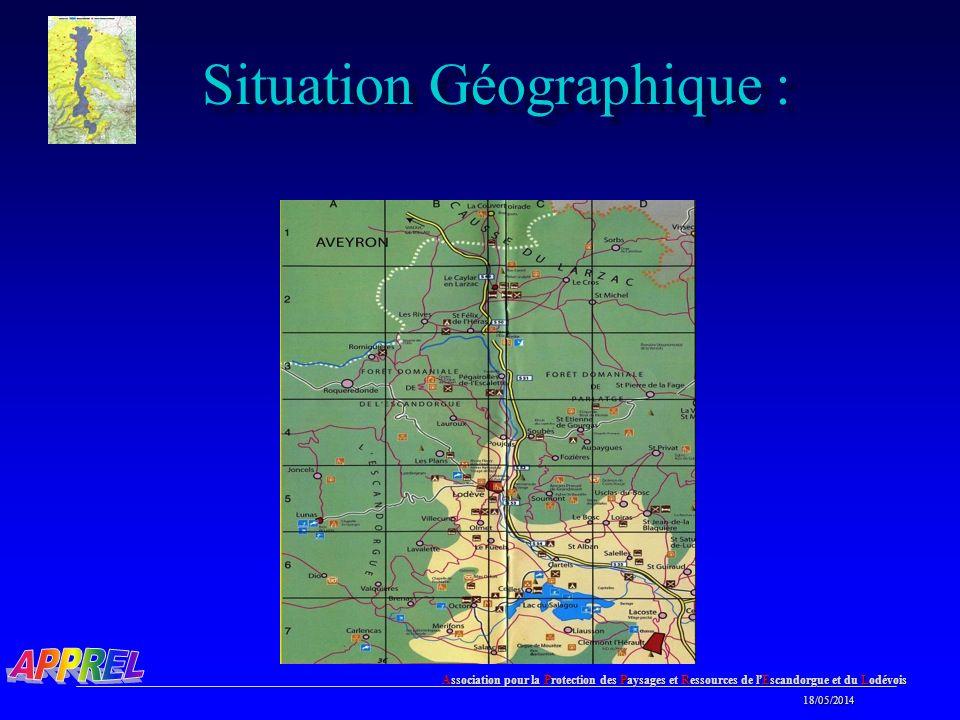 Association pour la Protection des Paysages et Ressources de l Escandorgue et du Lodévois 18/05/2014 18/05/2014 Situation Géographique :