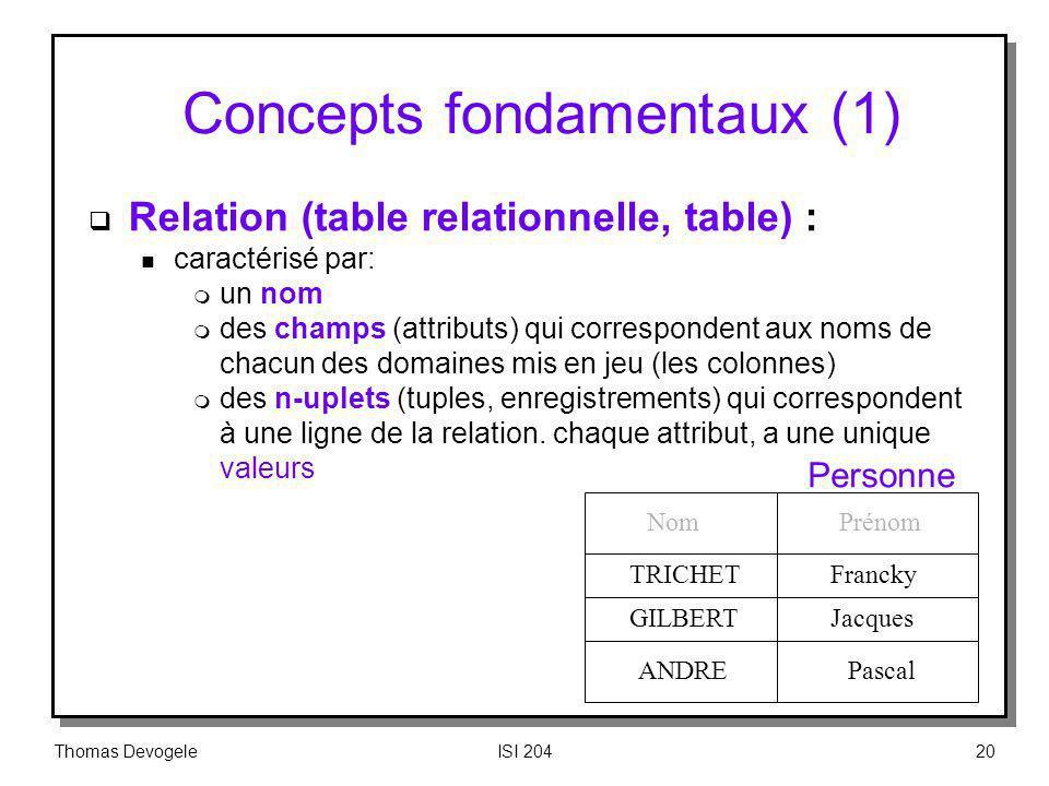 Thomas DevogeleISI 20420 Concepts fondamentaux (1) Relation (table relationnelle, table) : n caractérisé par: m un nom m des champs (attributs) qui co