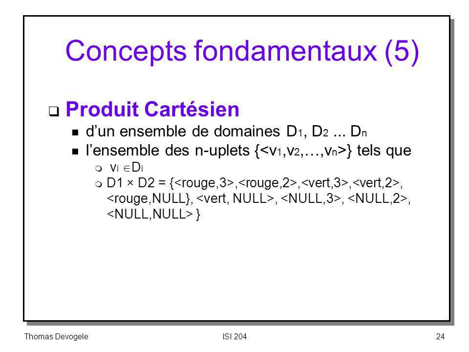 Thomas DevogeleISI 20424 Concepts fondamentaux (5) Produit Cartésien n dun ensemble de domaines D 1, D 2... D n n lensemble des n-uplets { } tels que