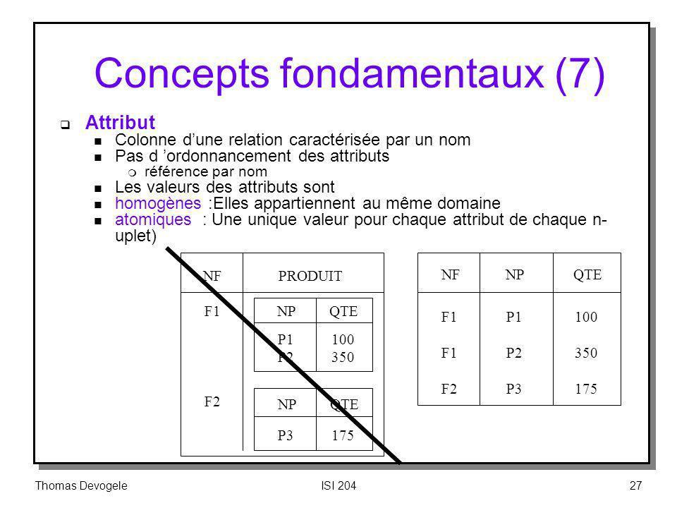 Thomas DevogeleISI 20427 Concepts fondamentaux (7) Attribut n Colonne dune relation caractérisée par un nom n Pas d ordonnancement des attributs m réf