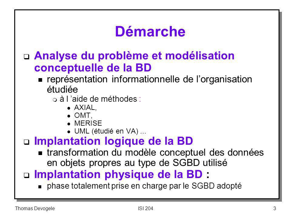 Thomas DevogeleISI 20464 Dépendance Fonctionnelle Définition n Deux groupes dattributs X et Y de la relation R sont en Dépendance Fonctionnelle si dans R, chaque valeur de X détermine une et une seule valeur de Y m si je connais la valeur de X alors je connais la valeur de Y n une DF est une assertion sur toutes les extensions possibles dune relation et pas uniquement sur ses n-uplets actuels Exemple : ensemble de DF pour une table