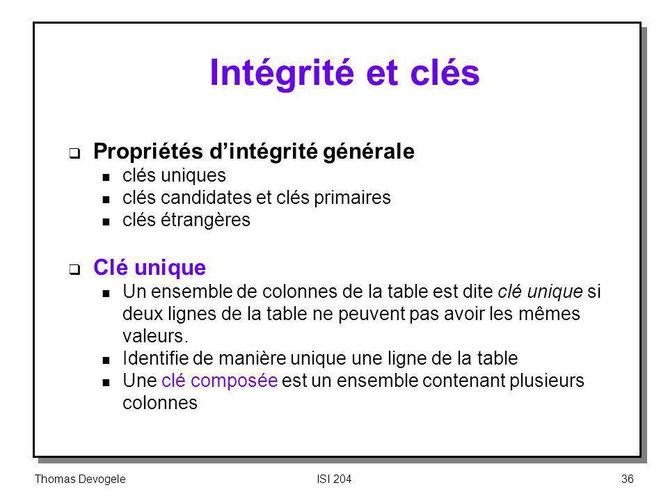 Thomas DevogeleISI 20436 Intégrité et clés Propriétés dintégrité générale n clés uniques n clés candidates et clés primaires n clés étrangères Clé uni