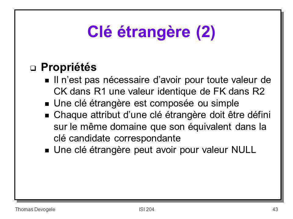 Thomas DevogeleISI 20443 Clé étrangère (2) Propriétés n Il nest pas nécessaire davoir pour toute valeur de CK dans R1 une valeur identique de FK dans