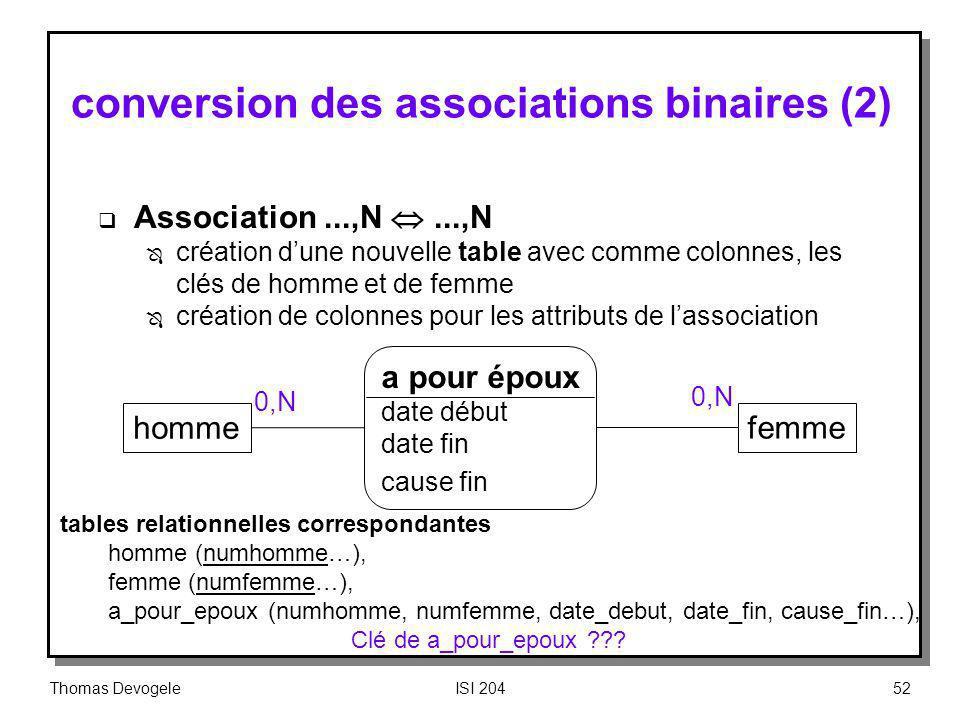Thomas DevogeleISI 20452 conversion des associations binaires (2) Association...,N...,N Ô création dune nouvelle table avec comme colonnes, les clés d