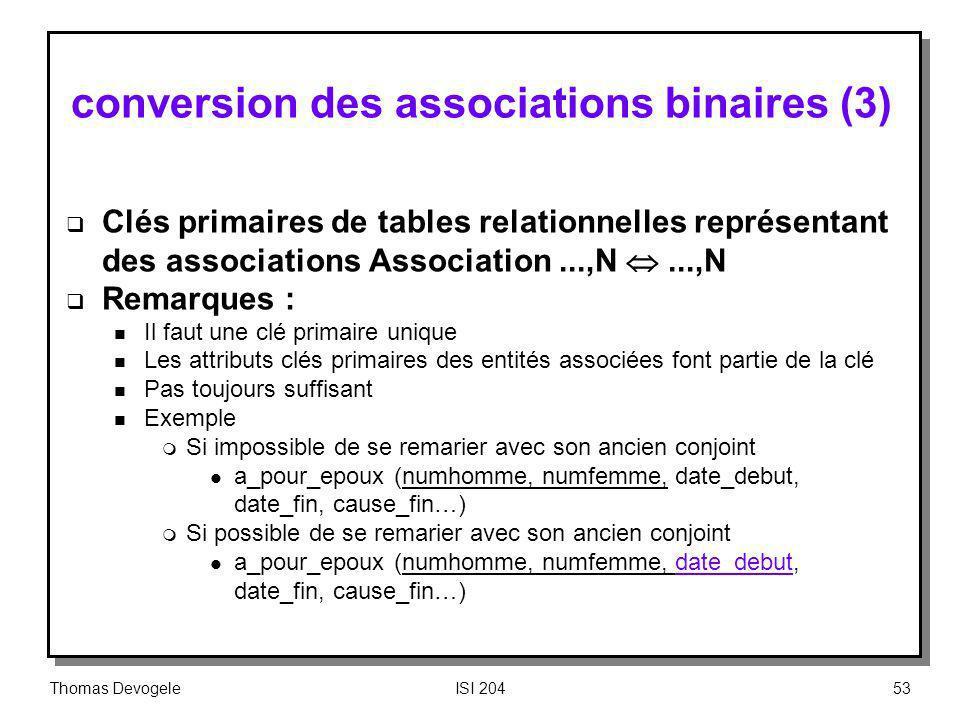 Thomas DevogeleISI 20453 conversion des associations binaires (3) Clés primaires de tables relationnelles représentant des associations Association...