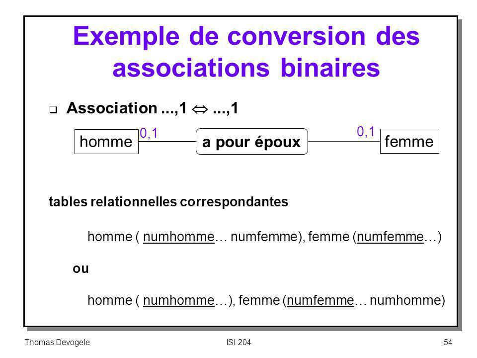 Thomas DevogeleISI 20454 homme femme a pour époux 0,1 Exemple de conversion des associations binaires Association...,1...,1 tables relationnelles corr