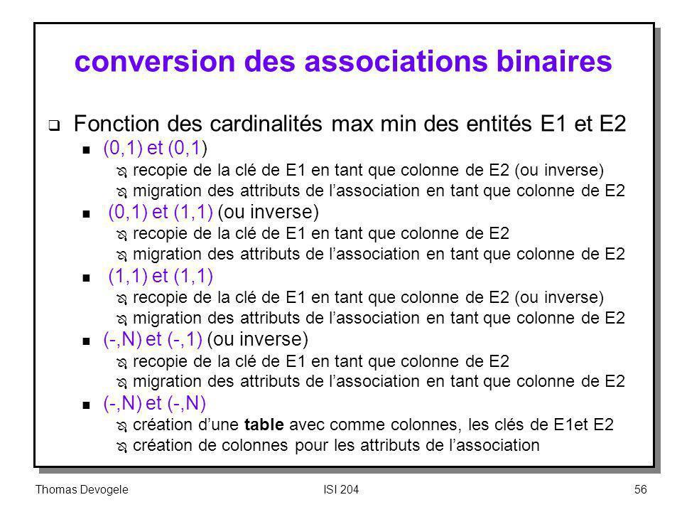 Thomas DevogeleISI 20456 conversion des associations binaires Fonction des cardinalités max min des entités E1 et E2 n (0,1) et (0,1) Ô recopie de la