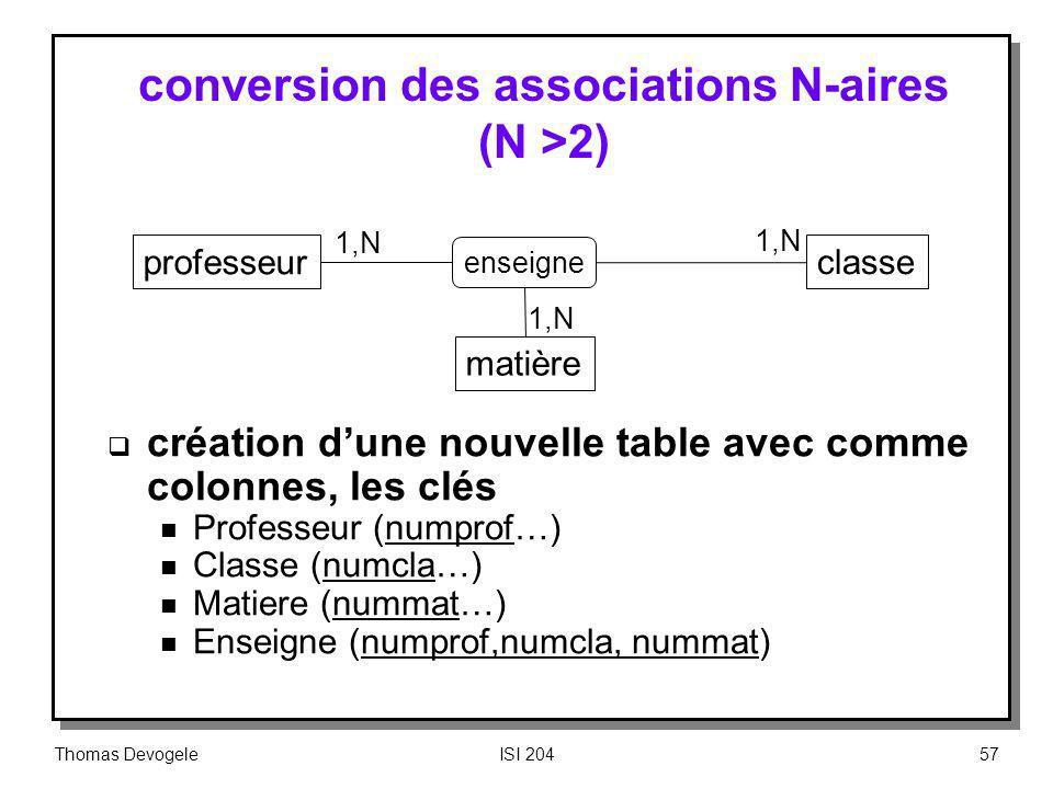 Thomas DevogeleISI 20457 conversion des associations N-aires (N >2) création dune nouvelle table avec comme colonnes, les clés n Professeur (numprof…)