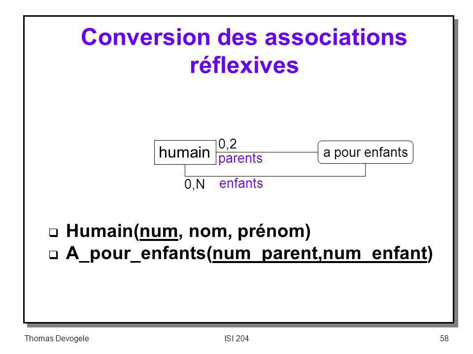 Thomas DevogeleISI 20458 Conversion des associations réflexives Humain(num, nom, prénom) A_pour_enfants(num_parent,num_enfant) humain a pour enfants 0,2 parents enfants 0,N