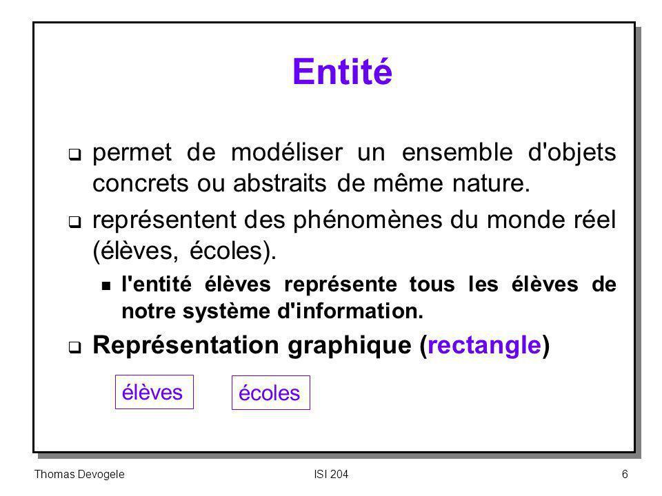 Thomas DevogeleISI 20427 Concepts fondamentaux (7) Attribut n Colonne dune relation caractérisée par un nom n Pas d ordonnancement des attributs m référence par nom n Les valeurs des attributs sont n homogènes :Elles appartiennent au même domaine n atomiques : Une unique valeur pour chaque attribut de chaque n- uplet) NF PRODUIT NF NP QTE NP QTE F1 F2 P1 100 P2 350 P3 175 F1 P1 100 F1 P2 350 F2 P3 175