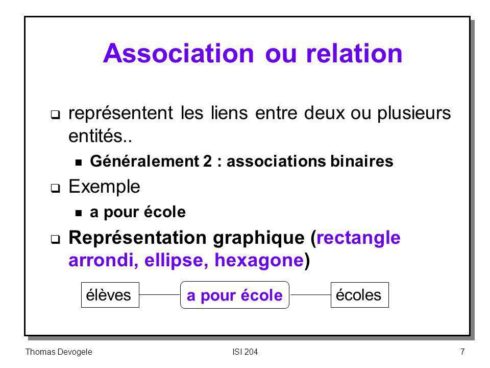 Thomas DevogeleISI 2047 Association ou relation représentent les liens entre deux ou plusieurs entités.. n Généralement 2 : associations binaires Exem