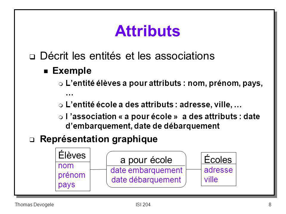 Thomas DevogeleISI 20419 Exemple de BD relationnelle Intuitivement, il est possible de passer dune table à une autre