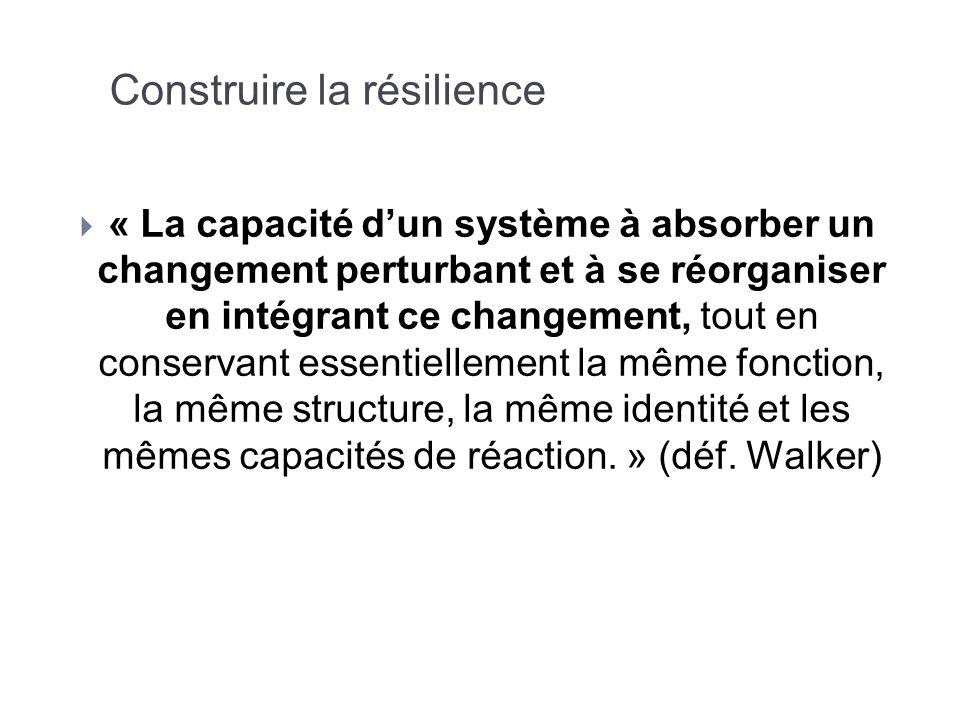 Construire la résilience « La capacité dun système à absorber un changement perturbant et à se réorganiser en intégrant ce changement, tout en conserv