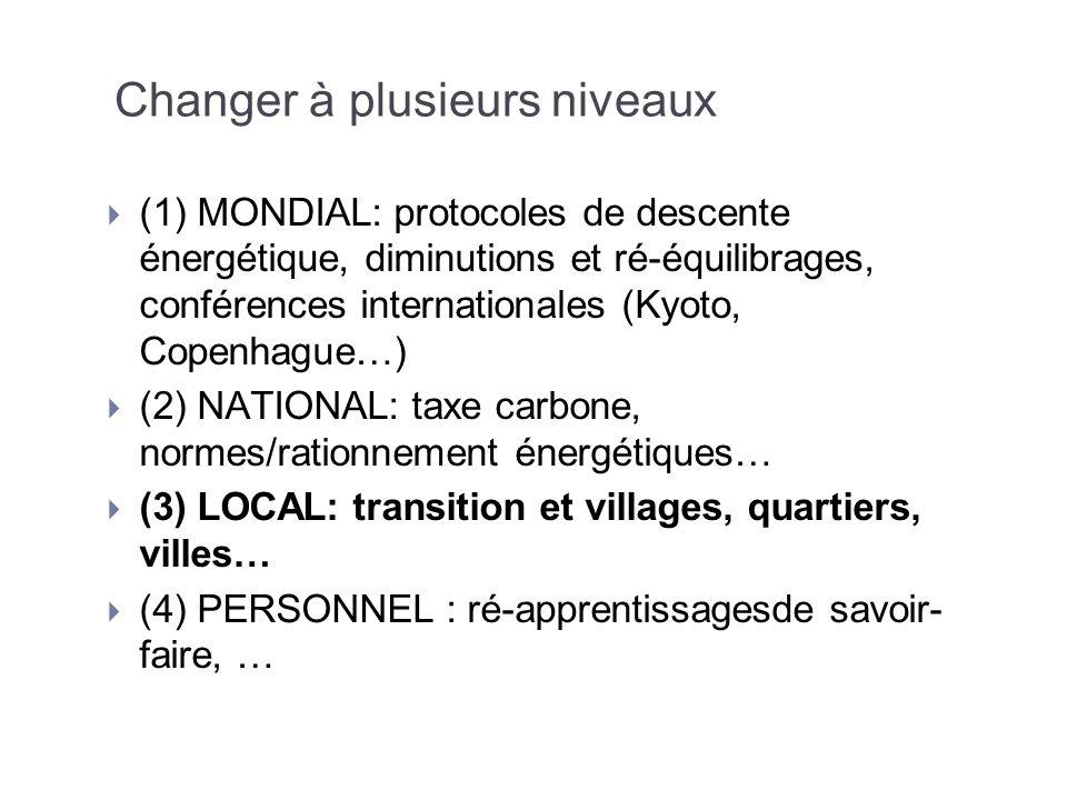 Changer à plusieurs niveaux (1) MONDIAL: protocoles de descente énergétique, diminutions et ré-équilibrages, conférences internationales (Kyoto, Copen