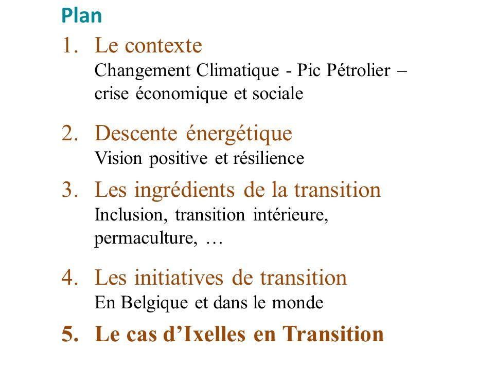 1.Le contexte Changement Climatique - Pic Pétrolier – crise économique et sociale 2.Descente énergétique Vision positive et résilience 3.Les ingrédien