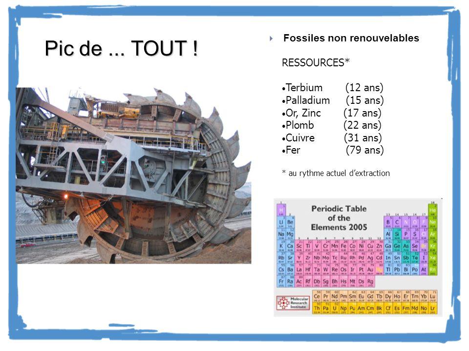 Fossiles non renouvelables RESSOURCES* Terbium (12 ans) Palladium (15 ans) Or, Zinc (17 ans) Plomb (22 ans) Cuivre (31 ans) Fer (79 ans) * au rythme a