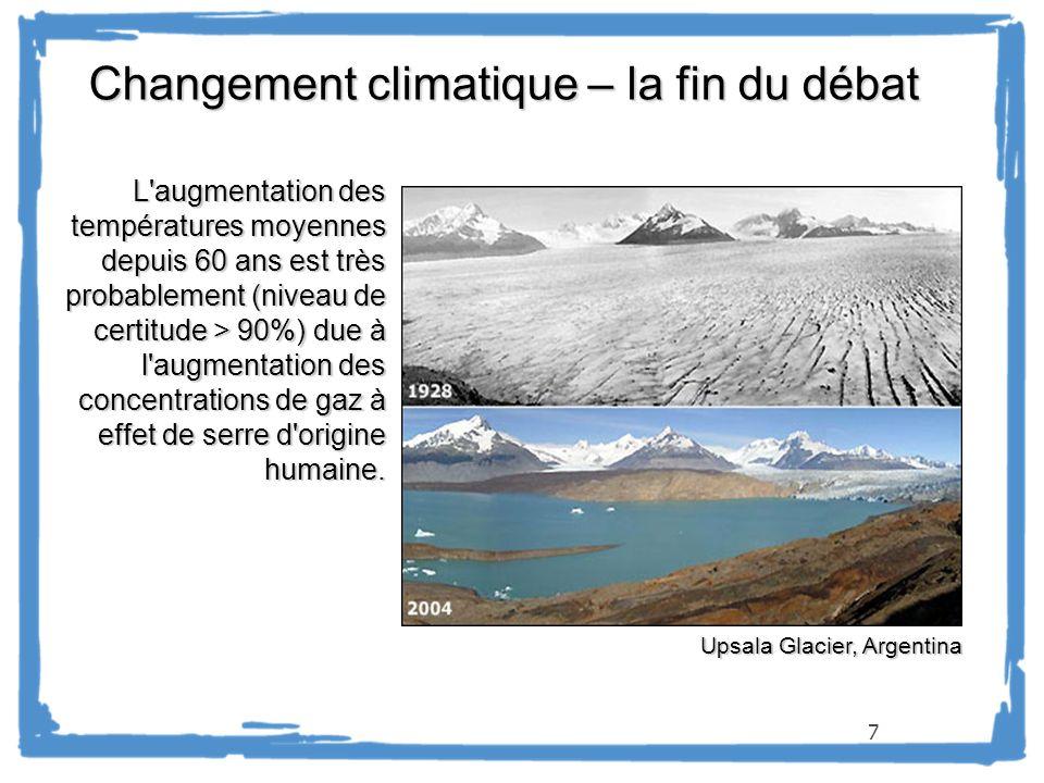 7 Changement climatique – la fin du débat L'augmentation des températures moyennes depuis 60 ans est très probablement (niveau de certitude > 90%) due