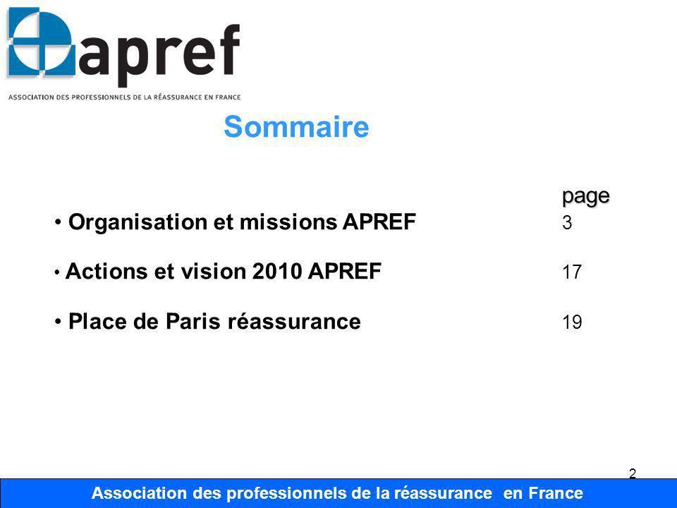 Association des Professionnels de la Réassurance en France 13 Association des professionnels de la réassurance en France Organisation Organisation Comité Technique Président I.