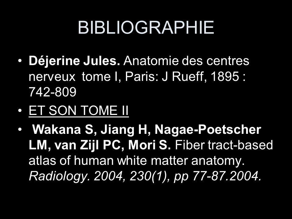 BIBLIOGRAPHIE Déjerine Jules. Anatomie des centres nerveux tome I, Paris: J Rueff, 1895 : 742-809 ET SON TOME II Wakana S, Jiang H, Nagae-Poetscher LM