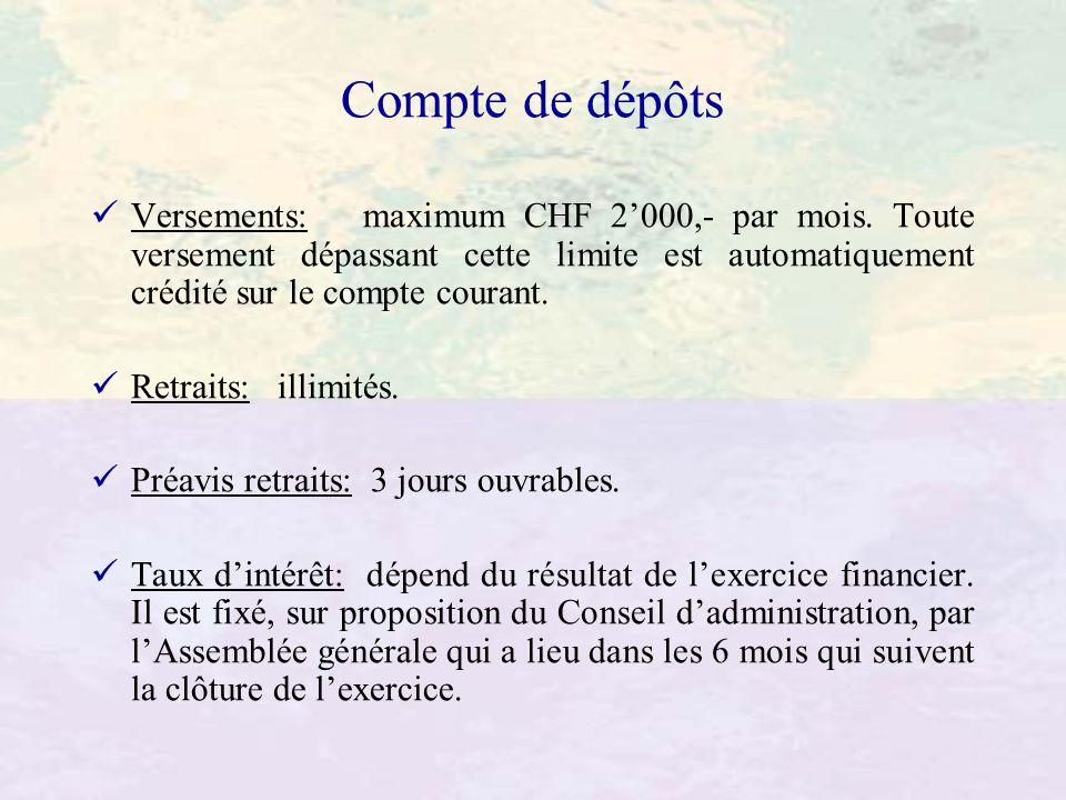 Compte de dépôts Versements: maximum CHF 2000,- par mois. Toute versement dépassant cette limite est automatiquement crédité sur le compte courant. Re