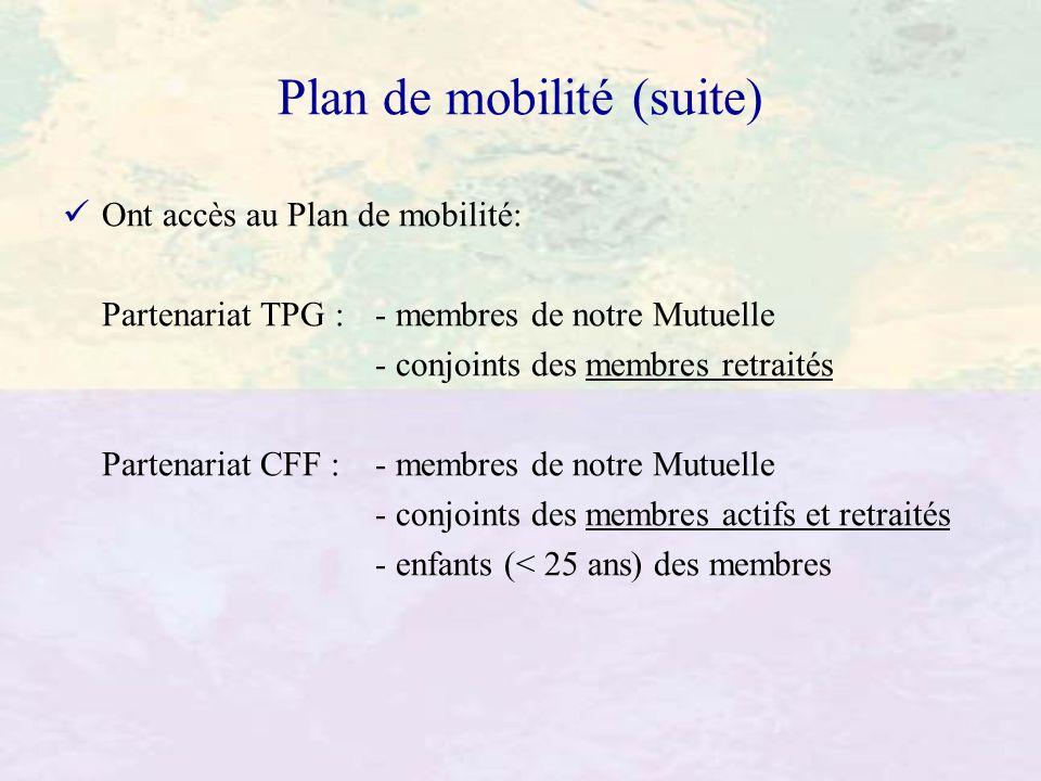 Plan de mobilité (suite) Ont accès au Plan de mobilité: Partenariat TPG : - membres de notre Mutuelle - conjoints des membres retraités Partenariat CF