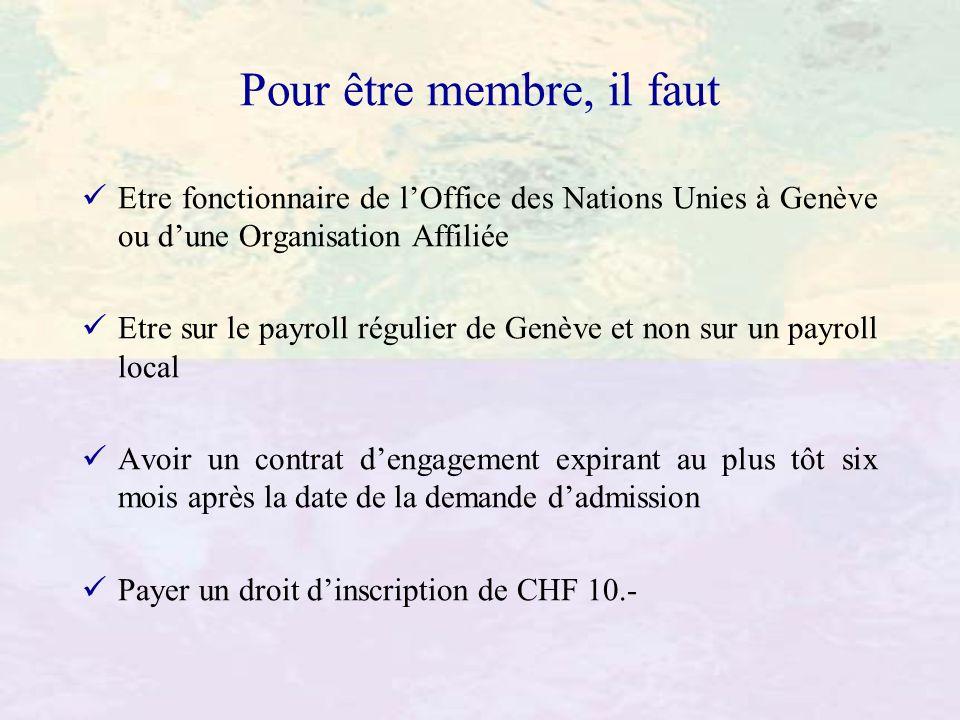 Pour être membre, il faut Etre fonctionnaire de lOffice des Nations Unies à Genève ou dune Organisation Affiliée Etre sur le payroll régulier de Genèv