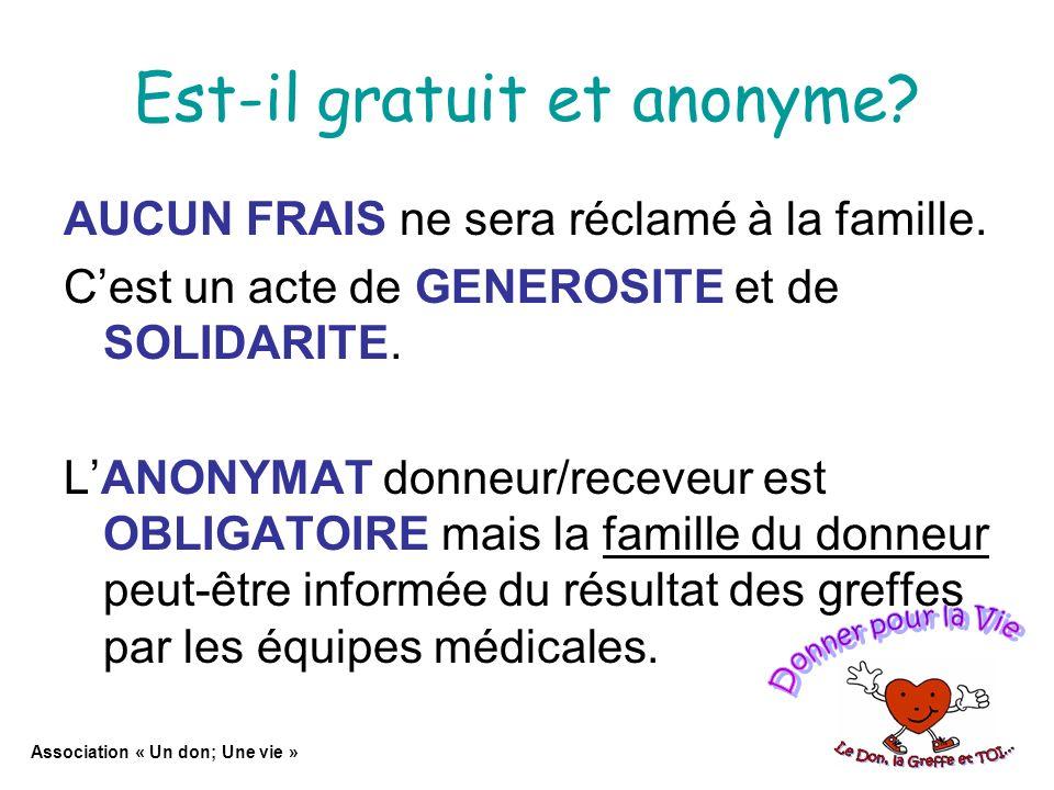 Est-il gratuit et anonyme.AUCUN FRAIS ne sera réclamé à la famille.