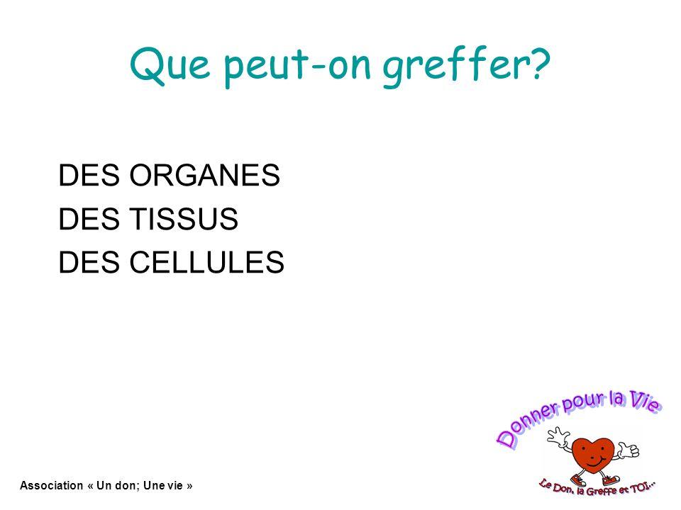 Que peut-on greffer? DES ORGANES DES TISSUS DES CELLULES Association « Un don; Une vie »
