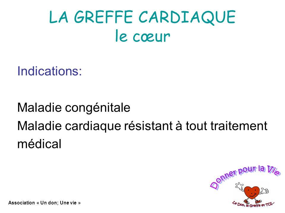 LA GREFFE CARDIAQUE le cœur Indications: Maladie congénitale Maladie cardiaque résistant à tout traitement médical Association « Un don; Une vie »