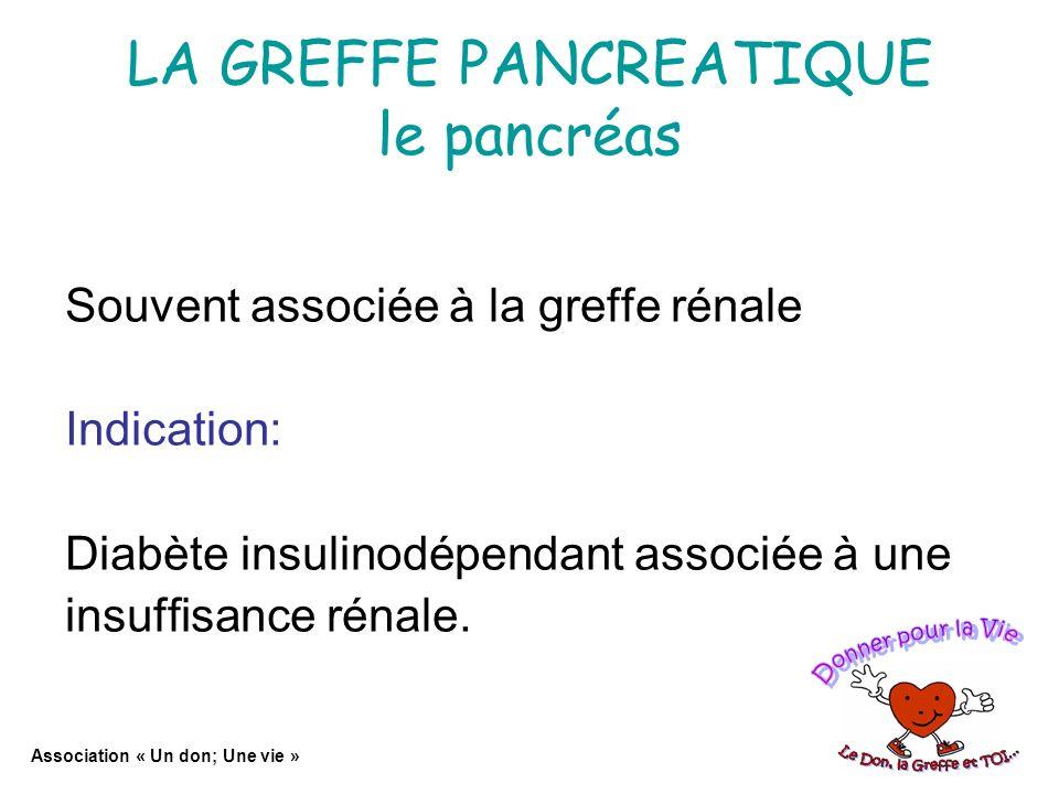 LA GREFFE PANCREATIQUE le pancréas Souvent associée à la greffe rénale Indication: Diabète insulinodépendant associée à une insuffisance rénale.